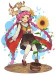 1girl :d animal artist_name bangs beret blue_eyes blue_flower blue_neckwear bow braid brown_footwear brown_shirt brown_skirt commentary dragalia_lost flower green_footwear hat hentaki jacket long_sleeves looking_at_viewer low_twintails maribelle_(dragalia_lost) open_clothes open_jacket open_mouth pantyhose pink_hair plaid plaid_skirt plant pleated_skirt potted_plant rabbit red_bow red_jacket round_teeth sailor_collar school_uniform serafuku shirt shoes short_eyebrows skirt smile solo squirrel sunflower teeth thick_eyebrows twin_braids twintails upper_teeth watermark web_address white_headwear white_legwear white_sailor_collar yellow_flower