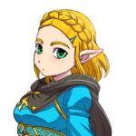 1girl black_cape blonde_hair blue_shirt blush braid breasts cape closed_mouth commentary_request crown_braid forehead green_eyes hair_ornament hairclip hanya_(hanya_yashiki) looking_at_viewer medium_breasts pointy_ears princess_zelda shirt short_hair simple_background solo the_legend_of_zelda the_legend_of_zelda:_breath_of_the_wild_2 thick_eyebrows triforce underbust white_background