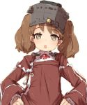 1girl alchera brown_eyes brown_hair commentary_request hands_on_hips head_tilt japanese_clothes kantai_collection kariginu long_hair looking_at_viewer magatama open_mouth red_shirt ryuujou_(kantai_collection) shirt simple_background solo twintails upper_body visor_cap white_background
