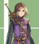 1boy anbe_yoshirou belt blue_eyes brown_hair dragon_quest dragon_quest_xi hero_(dq11) highres long_sleeves male_focus sheath sheathed super_smash_bros. sword tunic weapon