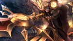 1girl battle bodysuit boobplate breastplate breasts brown_eyes deardd highres large_breasts league_of_legends leona_(league_of_legends) orange_hair pelvic_curtain shield signature sword tagme weapon