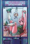 1girl absurdres armpits arms_up ashido_mina bangs bare_arms belt black_sclera boku_no_hero_academia casual closed_mouth clothes_writing crane_game english_text eyebrows_visible_through_hair full_body highres horns huge_filesize indoors legs_up looking_up lying on_back orange_eyes outstretched_arms outstretched_leg own_hands_together pink_hair pink_skin sabi_(sabimakii) scrunchie shirt shoe_soles shoes short_hair shorts sleeveless sleeveless_shirt smile socks solo stuffed_toy wrist_scrunchie