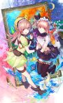 2girls :d atelier_(series) atelier_lydie_&_suelle bangs black_footwear black_gloves black_hairband black_legwear black_ribbon black_skirt book boots breasts brown_hair closed_mouth crescent crop_top dress eyebrows_visible_through_hair fire flower frilled_hairband frills gloves green_dress gun hair_between_eyes hair_ribbon hairband highres holding_hands interlocked_fingers long_hair looking_at_viewer looking_to_the_side lydie_marlen medium_breasts multiple_girls open_mouth painting_(object) picture_frame pleated_skirt puffy_short_sleeves puffy_sleeves red_eyes ribbon rose ruby_(gemstone) shirt short_sleeves siblings side_ponytail single_glove sisters skirt smile suelle_marlen swd3e2 thigh-highs twins water weapon white_flower white_rose white_shirt wrist_cuffs