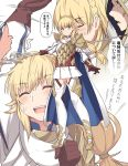 1boy 1girl armor black_gloves blonde_hair blush boots braid cape eyebrows_visible_through_hair fire_emblem fire_emblem_heroes full_body gloves green_eyes hair_ornament holding holding_weapon intelligent_systems long_hair looking_at_viewer multiple_views nintendo open_mouth sharena shiseki_hirame shoulder_plates smile speech_bubble thigh-highs upper_teeth weapon white_legwear