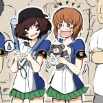 2girls :d akiyama_yukari backwards_hat baseball_bat baseball_cap baseball_jersey black_headwear blush_stickers bright_pupils brown_eyes brown_hair commentary crown eyebrows_visible_through_hair frown girls_und_panzer green_skirt hat holding holding_baseball_bat holding_stuffed_animal logo looking_at_viewer messy_hair miniskirt motion_lines multiple_girls nishizumi_maho notice_lines noumen open_mouth pleated_skirt shirt short_sleeves sketch skirt smile spoken_sweatdrop stuffed_animal stuffed_toy sweatdrop teddy_bear v-shaped_eyebrows white_pupils white_shirt