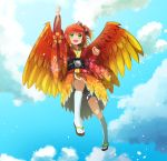1girl arm_up artist_name bangs banjo-kazooie bird_wings blush bow clenched_hand clouds gradient_hair green_eyes hair_bow highres japanese_clothes kazooie_(banjo-kazooie) kimono looking_at_viewer miraxth523 multicolored_hair new_year open_mouth orange_hair personification petals short_ponytail shorts sky smile solo tabi wings