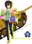 absurdres bag black_hair blue_pants brown_eyes casual character_name collar dress_shirt full_body girls_und_panzer glasses green_shirt ground_vehicle highres holding holding_bag jacket jagdpanzer_38(t) jewelry kawashima_momo long_sleeves looking_at_viewer military military_vehicle motor_vehicle necklace open_clothes open_jacket orange_footwear pants pumps shiny shiny_hair shirt short_hair smile tank walking