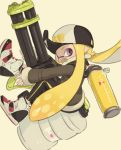 1girl baseball_cap black_headwear black_jacket black_legwear blonde_hair commentary commentary_request domino_mask fang floating from_side hat heavy_splatling_(splatoon) high_tops highres holding holding_weapon ink_tank_(splatoon) inkling jacket leggings long_hair long_sleeves looking_at_viewer mask o_masuta open_mouth pointy_ears print_hat shoes simple_background single_vertical_stripe smile solo splatoon_(series) splatoon_2 symbol_commentary tentacle_hair violet_eyes weapon white_background white_footwear yellow_tongue