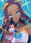 1girl blue_eyes blue_hair choker dark_skin earrings gloves hair_ornament highres hoop_earrings jewelry looking_at_viewer parted_lips poke_ball pokemon pokemon_(game) pokemon_swsh rurina_(pokemon) sofra solo sparkle wristband