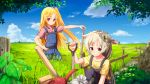 2girls ame. azur_lane bangs blonde_hair blue_sky blush cleveland_(azur_lane) closed_mouth clouds collarbone collared_shirt commentary_request day eyebrows_visible_through_hair fence field grey_hair grin hair_flaps hair_ornament hand_on_hip knee_up long_hair montpelier_(azur_lane) multiple_girls one_side_up outdoors overalls parted_bangs plaid plaid_shirt red_eyes shirt short_sleeves sky smile standing tree very_long_hair watering_can yellow_shirt