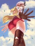 1girl ass atelier_(series) atelier_ryza blue_sky bow bracelet breasts brown_eyes brown_gloves brown_hair clouds commentary_request falling_leaves from_below gloves gwtm2288 hair_bow hat highres jewelry large_breasts leaf open_mouth red_shorts reisalin_stout short_shorts shorts sky solo thigh-highs thighs