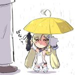 1girl :o ahoge ahoge_wag azur_lane bangs bare_shoulders black_umbrella blonde_hair blush breasts brown_eyes brown_footwear chibi closed_umbrella commander_(azur_lane) commentary_request detached_sleeves dress eldridge_(azur_lane) expressive_hair eyebrows_visible_through_hair facial_mark fur-trimmed_boots fur_trim hair_between_eyes holding holding_umbrella long_hair long_sleeves minigirl out_of_frame outstretched_arm pants parted_lips puffy_long_sleeves puffy_sleeves rain shadow shoes sleeveless sleeveless_dress small_breasts solo_focus standing thigh-highs translated twintails u-non_(annon'an) umbrella very_long_hair white_background white_dress white_footwear white_legwear white_pants white_sleeves yellow_umbrella