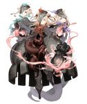 3girls animal_ears black_hair black_skin blonde_hair bracer cloak dark_persona double_bun empty_eyes expressionless eyes_visible_through_hair full_body ghost_tail glowing_tattoo gradient_hair hair_ribbon half-nightmare hat ji_no lantern long_hair looking_at_viewer multicolored multicolored_hair multicolored_skin multiple_girls official_art one_eye_covered pale_skin parted_lips pig_ears ribbon sinoalice tattoo tentacles three_little_pigs_(sinoalice) torn_cloak torn_clothes transparent_background violet_eyes