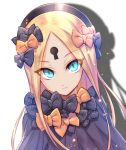 >:( 1girl abigail_williams_(fate/grand_order) bangs black_bow black_dress black_headwear blonde_hair blue_eyes bow bug butterfly closed_mouth dress drop_shadow fate/grand_order fate_(series) forehead glowing glowing_eyes hair_bow hat insect keyhole light_frown long_hair looking_at_viewer nasaniliu orange_bow parted_bangs polka_dot polka_dot_bow solo v-shaped_eyebrows very_long_hair white_background