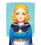 1girl bangs braid cape crown_braid hair_ornament hairclip looking_at_viewer mella parted_bangs pointy_ears princess_zelda short_hair smile solo the_legend_of_zelda the_legend_of_zelda:_breath_of_the_wild_2 thick_eyebrows upper_body