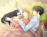 1boy 1girl black_hair blonde_hair book closed_eyes collared_shirt couple dog dress_shirt earrings from_above fullmetal_alchemist green_pillow jewelry long_hair long_sleeves lying on_side pink_shirt riza_hawkeye roy_mustang shirt sleeping takafuji_yuna under_covers white_shirt wing_collar wooden_floor