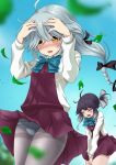 2girls absurdres ahoge black_hair black_ribbon blue_neckwear blue_sky blush bow bowtie braid brown_eyes closed_eyes dress grey_hair grey_legwear hair_over_eyes hair_ribbon hamanami_(kantai_collection) hayanami_(kantai_collection) highres kantai_collection leaf long_hair long_sleeves makura_(user_jpmm5733) multiple_girls open_mouth outdoors panties panties_under_pantyhose pantyhose pantyshot pantyshot_(standing) pleated_dress ponytail purple_dress ribbon school_uniform seamed_legwear shirt short_hair side-seamed_legwear sidelocks single_braid sky standing underwear wavy_mouth white_ribbon white_shirt wind wind_lift yellow_eyes