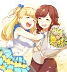 2girls :d blonde_hair blue_bow bouquet bow braid breasts brown_hair brown_skirt crying dress flower gloves hair_bow highres holding holding_bouquet large_breasts long_hair multiple_girls open_mouth petals polka_dot_skirt simple_background skirt sleeveless sleeveless_dress smile tears tokyo_7th_sisters uesugi_u_kyouko white_gloves yakimi_27 yellow_background