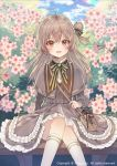 1girl :d ahoge bag blue_sky blurry blurry_background blush bow brown_capelet brown_dress brown_eyes brown_hair capelet clouds cloudy_sky commentary_request day depth_of_field dress flower frilled_dress frills green_bow hair_bow kneehighs laurelfalcon long_hair long_sleeves official_art one_side_up open_mouth outdoors pink_flower shoulder_bag sid_story sitting sky smile solo striped striped_bow watermark white_legwear