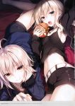 2girls absurdres ahoge armpits artoria_pendragon_(all) bangs belt black_dress black_shorts blonde_hair breasts camisole cup dress eating fate/grand_order fate_(series) food hamburger head_rest highres jacket jeanne_d'arc_(alter)_(fate) jeanne_d'arc_(fate)_(all) jewelry long_hair long_sleeves looking_at_viewer lying midriff mug multiple_girls navel necklace on_stomach open_mouth saber_alter saber_alter_costume_ver._shinjuku_1999 scan short_dress shorts small_breasts smile toosaka_asagi wicked_dragon_witch_ver._shinjuku_1999 yellow_eyes