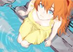 1girl blue_eyes breasts downblouse dress from_above hair_between_eyes highres knees_together neon_genesis_evangelion orange_hair painterly popofu small_breasts soaking_feet solo souryuu_asuka_langley sundress yellow_dress