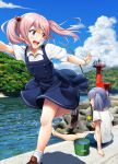 2girls :d alternate_costume blue_dress blue_hair blue_shorts blue_sky bracelet bucket casual clouds collared_shirt day dress fishing fishing_rod floating_hair full_body grin hair_bobbles hair_ornament hair_ribbon highres holding holding_fishing_rod ichikawa_feesu jewelry kantai_collection long_hair multiple_girls ooshio_(kantai_collection) open_mouth outdoors pinafore_dress pink_eyes pink_hair remodel_(kantai_collection) ribbon running sazanami_(kantai_collection) shirt shoes short_hair short_twintails shorts sitting sky smile twintails white_footwear white_shirt