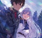 1boy 1girl 86_-eightysix- antenna_hair belt blush breasts brown_hair character_request closed_mouth coat day grey_eyes long_hair looking_at_another medium_breasts necktie open_mouth outdoors red_eyes red_neckwear shirabi short_hair silver_hair smile very_long_hair vladilena_millize white_coat