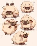 ahoge ahoge_wag artist_name braid bug butterfly butterfly_on_nose clivenzu commentary english_commentary expressive_hair fluffy gen_8_pokemon highres horns insect jumping multiple_views no_humans pokemon pokemon_(creature) pokemon_(game) pokemon_swsh sheep simple_background sleeping stuck twin_braids upside-down wooloo zzz