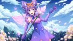1girl animal_ears ardenlolo blush breasts bug butterfly clouds cloudy_sky commentary detached_sleeves dress elementalist english_commentary eyebrows_visible_through_hair flower gloves happy highres holding holding_staff insect league_of_legends looking_at_viewer luxanna_crownguard mountain mystic_elementalist_lux outdoors purple_gloves sky sleeveless sleeveless_dress small_breasts staff tree upper_teeth violet_eyes watermark web_address white_flower wings