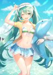 1girl ;d absurdres aqua_eyes aqua_hair arm_up artist_name bikini_skirt blue_skirt blue_sky blurry breasts clouds collarbone day depth_of_field front-tie_bikini front-tie_top goggles goggles_on_head hatsune_miku highres inflatable_toy long_hair looking_at_viewer miniskirt navel one_eye_closed open_clothes open_mouth open_shirt outdoors shirt skirt sky small_breasts smile snorkel solo soyubee standing stomach striped_bikini_top sunlight thighs twintails very_long_hair vocaloid water wristband yellow_shirt