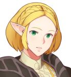 1girl absurdres alternate_hair_length alternate_hairstyle bangs braid face forehead french_braid green_eyes highres parted_bangs pointy_ears portrait princess_zelda roviahc short_hair sidelocks solo the_legend_of_zelda:_breath_of_the_wild_2 white_background