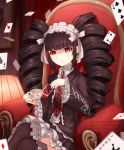 1girl ardenlolo black_hair black_legwear black_nails bonnet card celestia_ludenberck chair commentary cup danganronpa dress drill_hair english_commentary frills gothic_lolita hairband holding holding_cup lamp lolita_fashion long_hair nail_polish necktie playing_card red_eyes red_neckwear ribbon sitting smile solo thigh-highs twin_drills twintails white_ribbon