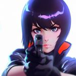 1girl bangs black_eyes black_gloves blurry blurry_foreground close-up closed_mouth commentary commentary_request depth_of_field english_commentary eyebrows_visible_through_hair face ghost_in_the_shell gloves gun high_collar holding holding_gun holding_weapon ilya_kuvshinov kusanagi_motoko lips looking_at_viewer pointing pointing_at_viewer purple_hair short_hair solo swept_bangs weapon white_background