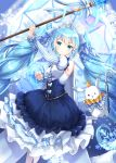 >_o 1girl absurdres animal arm_up bangs bare_shoulders blue_hair blue_skirt blurry blurry_background blush bow breasts cane center_frills closed_mouth commentary_request crown crystal depth_of_field detached_sleeves earrings eyebrows_visible_through_hair frilled_skirt frills hair_between_eyes hatsune_miku highres holding holding_cane holding_staff jewelry juliet_sleeves long_hair long_sleeves lunacle medium_breasts mini_crown one_eye_closed puffy_sleeves rabbit shirt skirt sleeveless sleeveless_shirt snowflakes staff striped_sleeves tiara twintails v-shaped_eyebrows very_long_hair vocaloid white_bow white_shirt yuki_miku yuki_miku_(2019) yukine_(vocaloid)