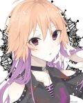 1girl blonde_hair collar collarbone hair_between_eyes highres holding holding_hair idolmaster idolmaster_cinderella_girls idolmaster_cinderella_girls_starlight_stage jewelry long_hair looking_at_viewer multicolored_hair necklace ninomiya_asuka open_mouth portrait purple_hair purple_shirt red_eyes shirt shoulder_cutout solo striped striped_shirt two-tone_hair white_background wing_collar yo_(fu_kumask)