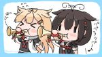 >_< 2girls ahoge black_hair black_ribbon black_serafuku blonde_hair blush_stickers braid closed_eyes commentary_request flying_sweatdrops hair_flaps hair_over_shoulder hair_ribbon instrument kantai_collection living_hair long_hair multiple_girls neckerchief red_neckwear remodel_(kantai_collection) ribbon sattsu scarf school_uniform serafuku shigure_(kantai_collection) simple_background single_braid trumpet twitter_username white_background white_scarf yuudachi_(kantai_collection)