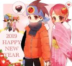 2019 2boys 2girls blush brown_eyes brown_hair capcom flower green_eyes hair_ornament happy_new_year headband heart helmet hikari_netto japanese_clothes kimono multiple_boys multiple_girls netnavi new_year obi pink_hair rockman rockman_exe rockman_exe_(character) roll_exe sakurai_meiru sash scarf short_hair smile thought_bubble uru-arrow wide_sleeves