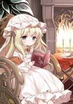 .live 1girl animal_ears blonde_hair blue_eyes book chair commentary_request expressionless fire fireplace gothic_lolita highres lolita_fashion long_hair merry_milk merry_milk_no_mori metk plant plate reading sitting solo tea virtual_youtuber