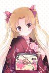 1girl bangs blonde_hair blush bow brown_eyes closed_mouth commentary_request ereshkigal_(fate/grand_order) eyebrows_visible_through_hair fate/grand_order fate_(series) floral_print forehead hair_bow hand_up head_tilt japanese_clothes kimono long_hair long_sleeves obi parted_bangs polka_dot polka_dot_background print_kimono red_bow red_kimono sash smile solo suzume_anko tohsaka_rin toosaka_rin two_side_up white_background wide_sleeves