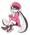 +_+ 1girl aori_(splatoon) beanie black_hair black_shorts brown_eyes brown_footwear closed_mouth commentary domino_mask earrings eating food french_fries full_body hat highres holding holding_food invisible_chair jewelry long_hair long_sleeves looking_at_viewer mask mole mole_under_eye o_masuta pink_legwear pointy_ears purple_headwear purple_shirt shirt shoes shorts simple_background sitting smile socks solo splatoon_(series) splatoon_1 squidbeak_splatoon star_hat_ornament tentacle_hair very_long_hair white_background