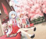 5girls ahoge black_footwear black_hair blue_eyes blue_hair blush brown_eyes brown_hair eyebrows_visible_through_hair glasses green_eyes grey_hair hair_ornament hairclip highres japanese_clothes loafers long_hair looking_at_viewer low_twintails medium_hair miko multiple_girls open_mouth original parted_lips semi-rimless_eyewear shoes short_twintails sign sitting smile socks standing translation_request twintails under-rim_eyewear white_legwear yume_no_owari