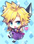 blonde_hair blue_eyes braid buster_sword chibi cloud_strife crossdressing dress final_fantasy final_fantasy_vii frown heart mary_janes open_mouth purple_dress sebychu shoes spiky_hair