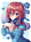 1girl bangs blue_background blue_cardigan blue_eyes blue_flower blush breasts brown_hair cardigan collared_shirt commentary_request dress_shirt ecu8080 eyebrows_visible_through_hair fingernails flower go-toubun_no_hanayome hair_between_eyes hand_up headphones headphones_around_neck heart highres long_hair long_sleeves looking_at_viewer medium_breasts nakano_miku parted_lips purple_flower shirt solo two-tone_background upper_body white_background white_shirt