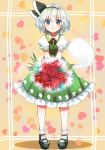 1girl :< aqua_eyes bangs black_footwear black_hairband blush bouquet closed_mouth dress eyebrows_visible_through_hair flower frilled_sleeves frills full_body green_dress hairband heart heart_background holding holding_bouquet konpaku_youmu konpaku_youmu_(ghost) looking_at_viewer mary_janes nagare pinafore_dress puffy_short_sleeves puffy_sleeves red_flower shoes short_hair short_sleeves silver_hair socks solo standing tareme touhou white_legwear