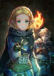 1boy 1girl armor bangs blonde_hair blue_eyes braid cape commentary_request crown_braid earrings fire gloves hair_ornament hairclip highres jewelry kuroi_susumu link long_hair open_mouth parted_bangs pointy_ears ponytail princess_zelda short_hair the_legend_of_zelda the_legend_of_zelda:_breath_of_the_wild_2 thick_eyebrows upper_body upper_teeth