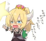 1girl bangs black_collar black_dress blonde_hair blue_eyes bowsette bracelet child collar commentary crown dress eyebrows_visible_through_hair fang frown horns jewelry jinguu_(4839ms) long_dress long_hair mario_(series) monster_girl motion_lines new_super_mario_bros._u_deluxe nintendo nintendo_ead open_mouth pointy_ears purple_nails reaching_out sharp_sign sharp_teeth simple_background solo spiked_armlet spiked_bracelet spiked_collar spiked_shell spikes standing strapless strapless_dress super_crown tearing_up teeth translated turtle_shell white_background younger