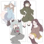 4girls anchovy anzio_military_uniform arm_behind_back bangs black_footwear black_ribbon blonde_hair blue_eyes blue_headwear blue_legwear blush boots bright_pupils brown_eyes chi-hatan_military_uniform collarbone drill_hair eyebrows_visible_through_hair girls_und_panzer green_hair green_jumpsuit hair_ribbon hand_on_hip hand_on_own_cheek hand_up hat headwear helmet jacket jumpsuit katyusha keizoku_military_uniform leaning_forward light_frown long_hair long_sleeves looking_at_viewer looking_back looking_to_the_side mika_(girls_und_panzer) military military_uniform mituki_(mitukiiro) multiple_girls nishi_kinuyo pleated_skirt pocket pravda_military_uniform ribbon simple_background skirt smile socks star twin_drills twintails uniform white_background white_pupils