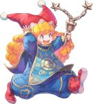 1girl artist_request blonde_hair blue_bodysuit blue_eyes blush blush_stickers bodysuit charlotte_(seiken_densetsu_3) curly_hair flail hand_on_headwear holding holding_weapon long_hair lowres official_art open_mouth red_footwear red_headwear seiken_densetsu seiken_densetsu_3 shoes smile solo transparent_background walking weapon