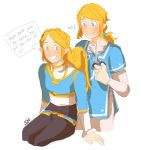 1boy 1girl aqua_eyes artist_request blonde_hair blue_eyes blue_tunic cutting_hair elf english_text highres link long_hair looking_at_another pants pointy_ears princess_zelda scissors smile sweatdrop the_legend_of_zelda:_breath_of_the_wild_2