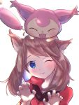 1girl animal animal_ears animal_on_head backlighting bandana_removed blush brown_hair cat_ears eyelashes fang fangs hands_up haruka_(pokemon) head_tilt headwear_removed highres kemonomimi_mode myuuu_ay on_head one_eye_closed pokemon pokemon_(game) pokemon_on_head pokemon_oras simple_background skitty slit_pupils solo upper_body violet_eyes white_background